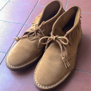 J Crew suede fringe boots